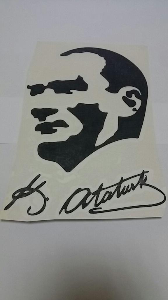 Araç İçin K. Atatürk İmza ve Silüet Stickerı Araba Oto Sticker