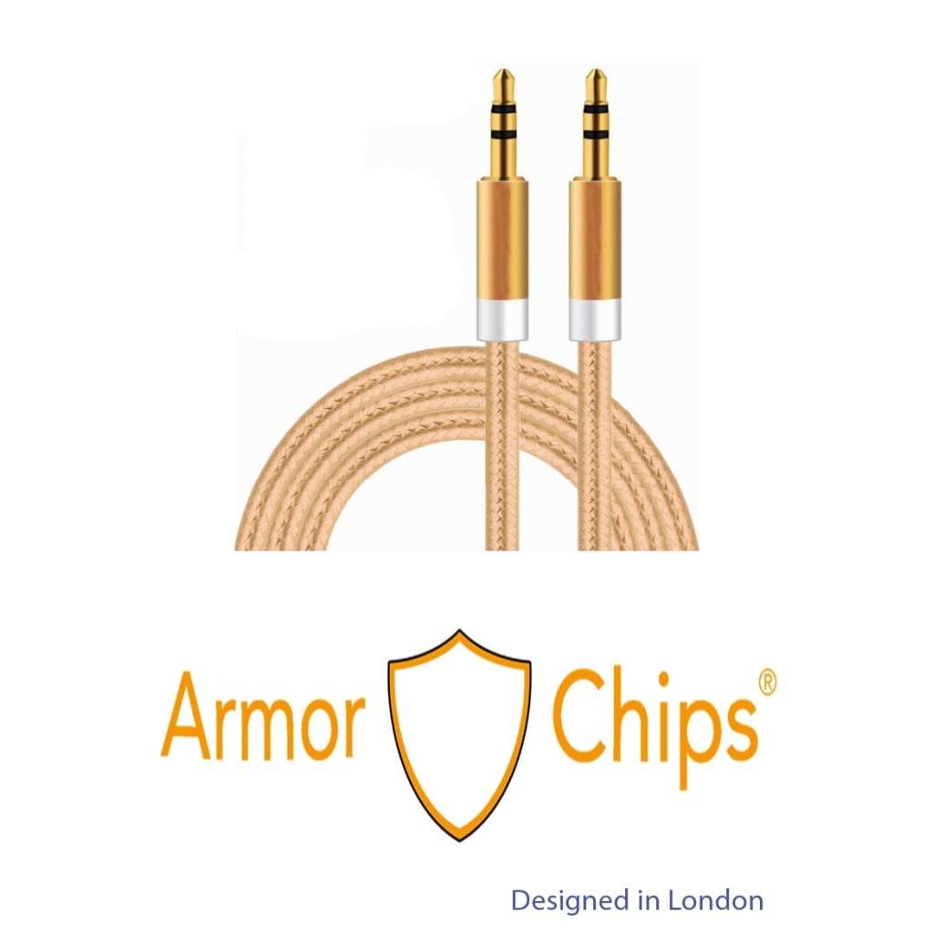 Armorchips Altın Uçlu Aux Kablosu 3.5mm Hi-Fi Oto Araç İçin Uygun