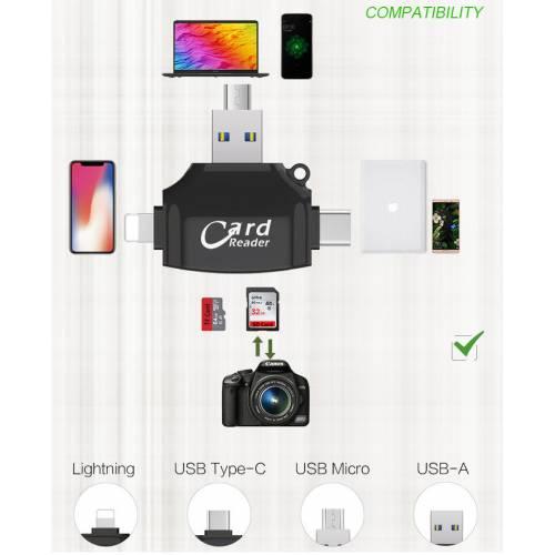 3in1 Card Reader iPhone Micro USB Type-C Kart Okuyucu Çoklayıcı