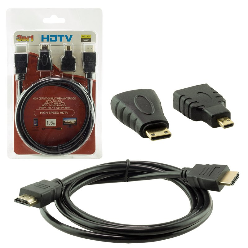 Hdmi to Hdmi Kablo Set Mini Micro Standart Altın Uçlu Dönüştürücü