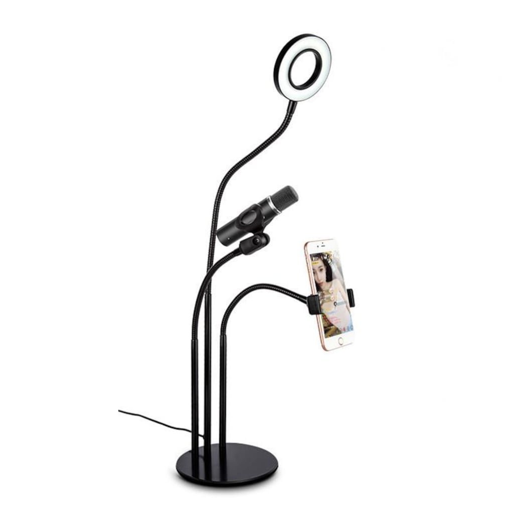 Profesyonel Stüdyo Youtuber Masa Üstü Selfie Işığı Mikrofon Stand