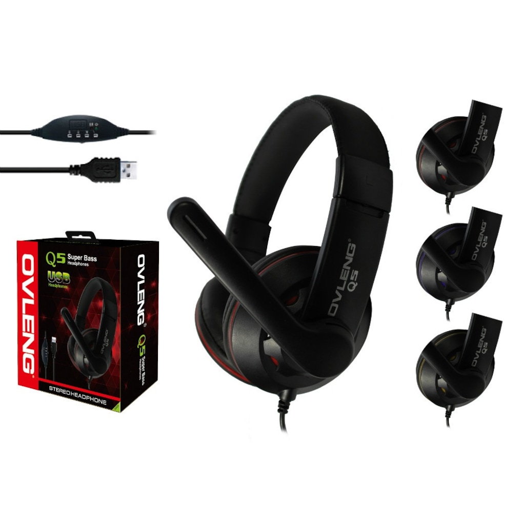 OVLENG OV-Q5 USB 2.0 Stereo Kulaklık Mikrofonlu Kulaklık Usb